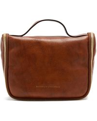Brunello Cucinelli Grained-leather Fold-out Washbag - Brown