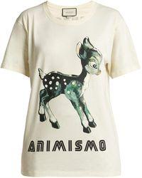 47d091df1eb Gucci - Animismo Print Cotton T Shirt - Lyst