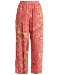 By Walid - Palazzo Pleated Bird-print Silk Trousers - Lyst