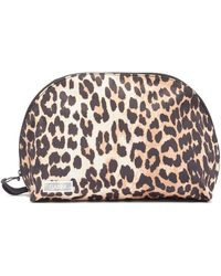 Ganni Leopard-print Wash Bag - Multicolor