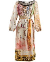 Rianna + Nina - Vintage Patchwork Scarf-print Silk Dress - Lyst