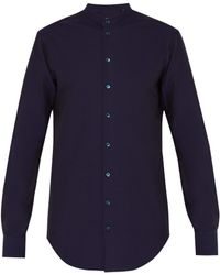 Giorgio Armani - Grandad Collar Seersucker Cotton Shirt - Lyst