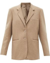 Lemaire Pressed-wool Single-breasted Jacket - Natural