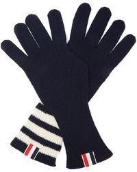 Thom Browne Tri-colour Striped-cuff Gloves - Blue