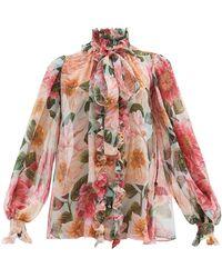 Dolce & Gabbana Pussy-bow Camelia-print Silk-chiffon Blouse - Pink