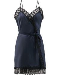 Eres x Julie De Libran Jane Lace-trimmed Silk-satin Mini Slip Dress - Blue