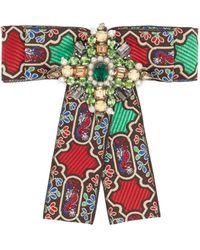 Gucci Brocade Crystal-embellished Brooch - Green