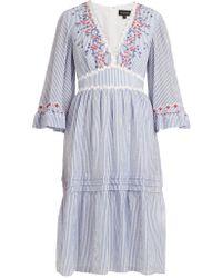 Saloni - June Striped Seersucker Dress - Lyst