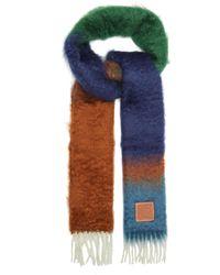 Loewe アナグラム グラデーション フリンジスカーフ - ブルー