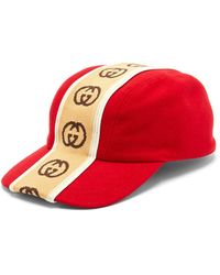 Gucci GG-jacquard Wool-felt Cap - Red