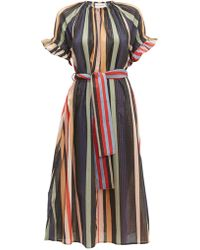 Apiece Apart Chabrol Striped Cotton Blend Midi Dress - Multicolor