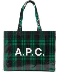 A.P.C. ダイアン タータンチェック キャンバストートバッグ - グリーン