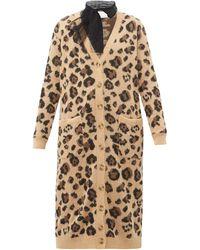 RED Valentino Leopard Jacquard Cotton Blend Cardigan - Multicolour