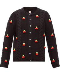 Shrimps Silos Cherry Cable-knit Wool-blend Cardigan - Black