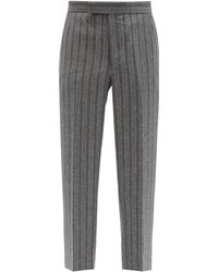 Thom Browne Striped Wool-flannel Trousers - Grey