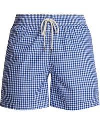Polo Ralph Lauren - Logo Embroidered Gingham Swim Shorts - Lyst