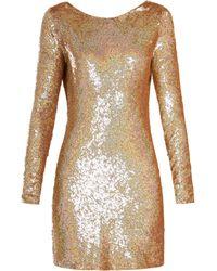 Ashish - Cowl-back Sequin-embellished Long-sleeved Dress - Lyst