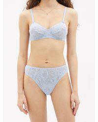 Araks Tine Floral-lace Thong - Blue