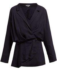 Jacquemus Sisco Double Breasted Twill Blazer Dress - Blue