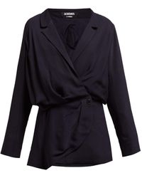 Jacquemus Sisco Double-breasted Twill Blazer Dress - Blue