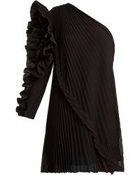 Givenchy One-shoulder Pleated Silk-georgette Dress - Black