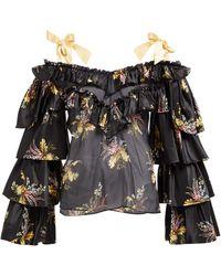 Rodarte Ruffled Floral-print Silk-blend Blouse - Black
