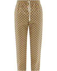 Gucci GG-jacquard Cotton-blend Canvas Track Pants - Brown