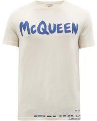 Alexander McQueen グラフィティロゴ コットンtシャツ - ブルー