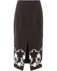 Brock Collection フローラルエンブロイダリー ツイルミディスカート - ブラック
