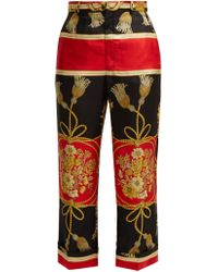 Gucci - Intrigue Silk Cropped Trousers - Lyst