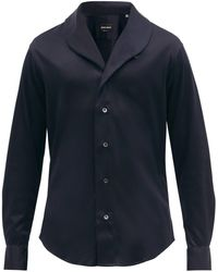 Giorgio Armani Shawl-collar Cotton-poplin Shirt - Blue