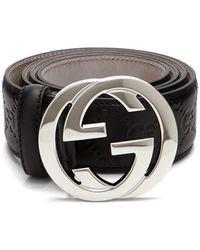 Signature Gg Logo Leather Belt , Black