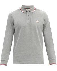Moncler ロゴ コットンピケ ロングスリーブポロシャツ - グレー
