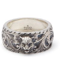 Gucci - Tiger And Gg Engraved Sterling Silver Ring - Lyst