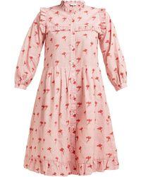 Sea Ruffled Floral-print Cotton Dress - Pink