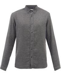 Oliver Spencer ブロック コットンツイル ボタンダウンシャツ - グレー