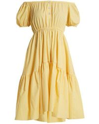 Caroline Constas - Bardot Flounce Dress - Lyst