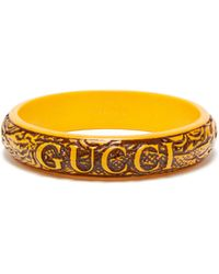 Gucci - Logo And Dragon Engraved Bangle - Lyst