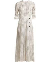 Alessandra Rich - Robe plissée en crêpe de Chine de soie à pois - Lyst