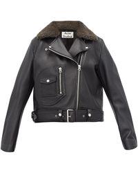 Acne Studios Merlyn Shearling-collar Leather Biker Jacket - Black