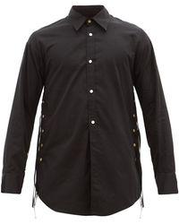 BED j.w. FORD タッセル コットンシルク シャツ - ブラック