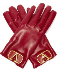 Valentino V Logo Plaque Leather Gloves - Red