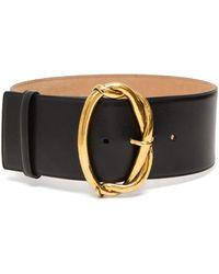 Alexander McQueen Oval-buckle Leather Belt - Black