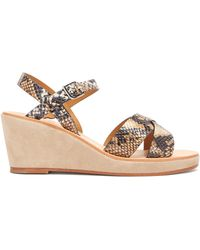 A.P.C. Judith Python-embossed Leather Wedge Sandals - Multicolour
