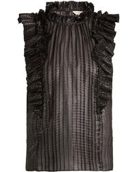 Rebecca Taylor - High-neck Checked Ruffle-trimmed Silk Top - Lyst