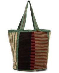 Guanabana Striped Woven Tote Bag - Green