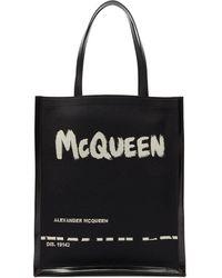 Alexander McQueen - グラフィティロゴ キャンバス&レザートートバッグ - Lyst