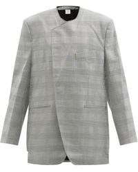 Vetements チェック オーバーサイズツイルジャケット - グレー