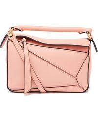 Loewe パズル ミニ グレインレザーバッグ - ピンク