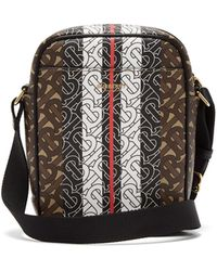Burberry Thornton Tb-monogram Coated-canvas Messenger Bag - Brown